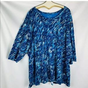 Catherines Tops - Catherine's 5x  tunic blue black tan 3/4 sleeves